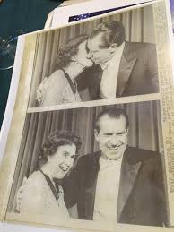 My great great grandmother, Adela Rogers St. John's, shooting the shit with  Richard Nixon, who delivered newspapers to her as a kid & later awarded her  the Presidential Medal of Freedom. :