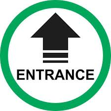 5in X 5in Green Circle Entrance Arrow Sticker Black Letter Circle Words