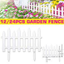 12 Pcs White Plastic Garden Fencing Plastic Fence Courtyard Garden Edging Border Panel Flower Yard Decor Wish