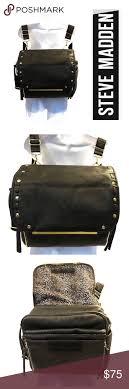 steve madden black leather diaper bag
