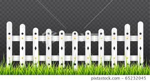White Wooden Fence With Green Grass Vector Stock Illustration 65232045 Pixta