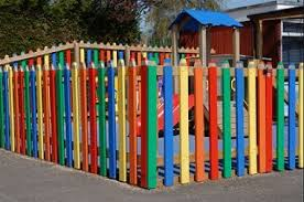 Wood Picket Playground Child Safety Fencing Painted Like Crayons Colored Pencils Fence Design Pallet Fence Front Yard Fence