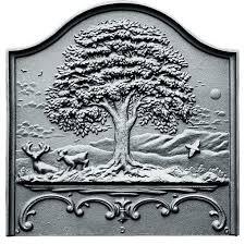 tall oak fireback rustic fireplace