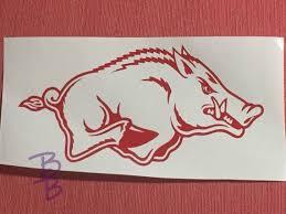 Arkansas Razorback Decal Hawgs Hog Decals Woo Pig Etsy