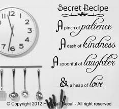 Secret Recipe A Pinch Of Patience A Dash Of Kindness Wall Art Decal Ebay