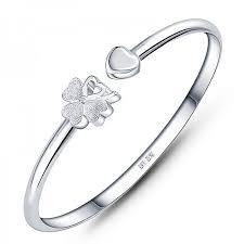 maple love clover silver bracelet