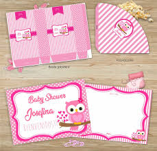 Kit Imprimible Baby Shower Nena Buho Solo Textos Editables