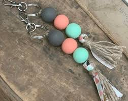 beaded keychains boho keychain wood beads