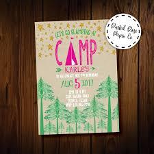 Glamping Invitacion De Camping Ninas Camping Glamping Etsy