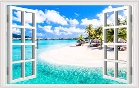 Amazon Com Fake Windows Wall Sticker Removable 3d Beach Seascape Faux Windows Wall Sticker Vinyl Self Adhesive Beach Landscape Palm Tree Wall Mural Stickers For Bedroom Living Room Decoration Kitchen Dining