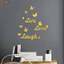 Spencer 3d Mirror Wall Sticker Live Love Laugh Quote Butterflies Adhesive Wall Decals Removable Acrylic Home Decoration Silver Walmart Com Walmart Com