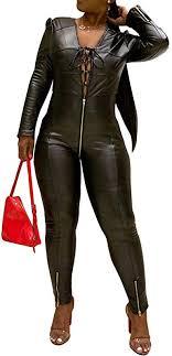 acelyn women s faux leather jumpsuit