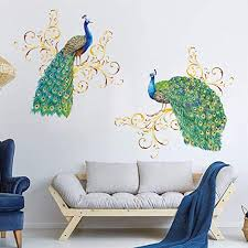 Amazon Com Decalmile Peacock Wall Decals Animal Bird Wall Stickers Living Room Bedroom Wall Art Decor Home Kitchen