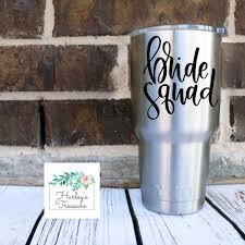 Amazon Com Celycasy Bride Squad Vinyl Decal Bride Gift Wedding Party Decal Diy Bachelorette Party Decals Bride Tribe Bridal Party Gift Wine Tumbler Decal Kitchen Dining