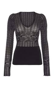 Myra Long Sleeve Floral Lace Knit Top in Black | Roland Mouret