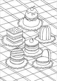 Appetizing Cakes Cupcakes And Cakes Coloring Pages For Adults