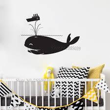 Funny Mischievous Whale Vinyl Decal Wall Sticker For Kids Room Home Decor Art Cute Animals Mural Modern Barhroom Wallpaper Lc819 Wall Stickers Aliexpress