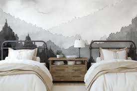 Removable Fabric Wall Mural Misty Mountains Grey Tiny Walls Kids Wallpaper And Wall Decals Australia