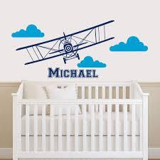 Amazon Com Zixinruies Plane Name Wall Decal Clouds Vinyl Sticker Personalized Custom Name Biplane Decals Airplane Kids Baby Name Boys Nursery Room Decor Art Home Kitchen