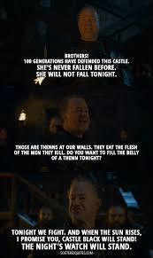 castle black will stand the night s watch will stand scattered