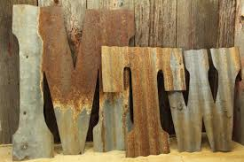 corrugated rustic metal letters
