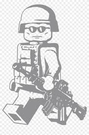 Lego Walking Modern Minifig With M4a1 Vinyl Decal Lego Soldier Wall Decal Clipart 2014641 Pikpng