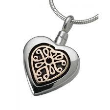 heart pendant with 14k gold filigree insert