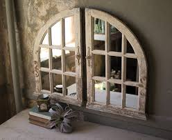 arched wood window wall mirrors cottage