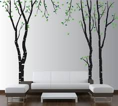 Amazon Com Innovative Stencils Large Wall Birch Tree Decal Forest Kids Vinyl Sticker Removable With Leaves Branches 1119 84 7 Ft Tall Black Trees Green Leaves Garden Outdoor