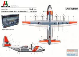 Itad1255dec 1 72 Italeri Decal C 130j Hercules Ii Us Coast Guard