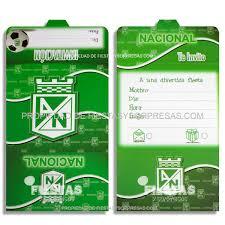 Tarjetas De Invitacion Atletico Nacional Paquete X 12 Fiestas