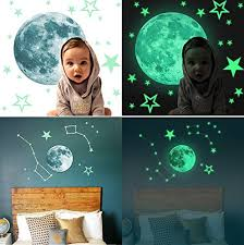 Amaonm Removable Glow In The Dark Moon And Stars Wall Decals Stickers Diy Vinyl Wall Art Decor Peel And Stick Decal For Home Bedroom Ceiling Kids Room Baby Nursery Rooms Baby