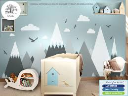 Mountain Wall Decal Nursery Mountains Huge Stickers Entire Wall Vinyl Sticker Baby Room Wall Mountain Wall Decal Kids Room Wall Decals