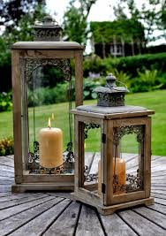 tuscany wooden garden candle lantern