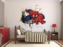 Spiderman Wall Hole Wall Decal Decor Stickers Vinyl Dg004 3d Room Kids Comics Ebay