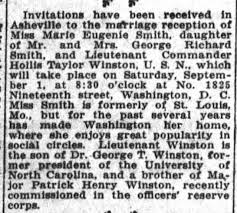 Marriage of Hollis Taylor WINSTON & Marie Eugenia SMITH in 1917. -  Newspapers.com