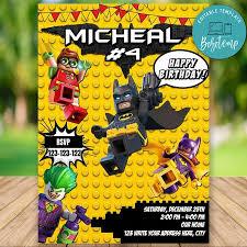 Invitacion De Cumpleanos De Lego Batman Editable Descarga