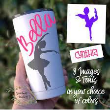 Ballerina Decal Dancing Ballerina Water Bottle Decal Girl Name Decal Custom Girls Decal Vinyl Decal In 2020 Vinyl Decals Bottle Decals Girl Decals