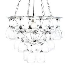 chandelier made of wine glasses with