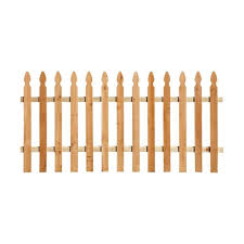 3 1 2 Ft X 8 Ft Western Red Cedar Spaced Picket French Gothic Fence Panel Kit 239708 The Home Depot Fence Panels Western Red Cedar Outdoor Essentials