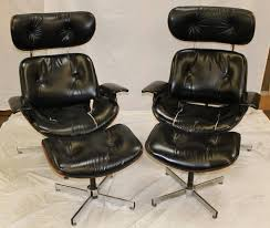 pair mid century modern leather chairs
