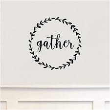 Amazon Com Gather With Simple Wreath Frame Thanksgiving Vinyl Letteirng Wall Decal Sticker 12 H X 12 L Black Home Kitchen