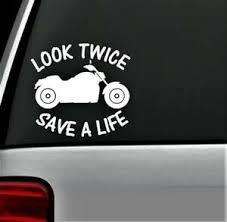 Look Twice Motorcycle Safety Decal Sticker For Car Window Helmet Biker Truck Art Ebay