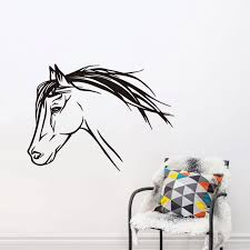 Wonderful Mustang Wall Sticker Horse Head Decal For Boy S Bedroom Vinyl Outline Pony Wall Decal Art Mural Diy Home Muraux Syy107 Wall Decals Wall Sticker Horsewall Sticker Aliexpress