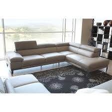 sleek light grey leather sectional