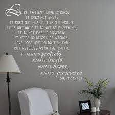 Amazon Com Love Is Patient Love Is Kind Vinyl Love Wall Decal Quote Corinthians Sayings Love Letters Words Phrases Home Art Decor White Home Kitchen