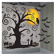 Amazon Com Fancy Me Large 33 Piece Creepy Spooky Tree Bats Halloween Party Wall Decoration Scene Setter Selfie Station Toys Games