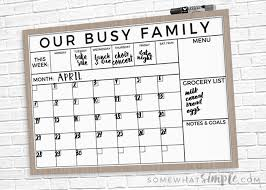 Dry Erase Family Calendar Printable + Easy Tutorial