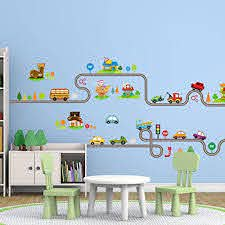 Amazon Com Amaonm Removable Cute Cartoon Kids Room Wall Decal Diy Vinyl City Car Circled Curved Road Wall Stickers Decor For Children Babys Bedroom Studyroom Playroom Nursery Room School A B Home Kitchen