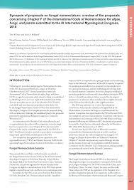proposals on fungal nomenclature